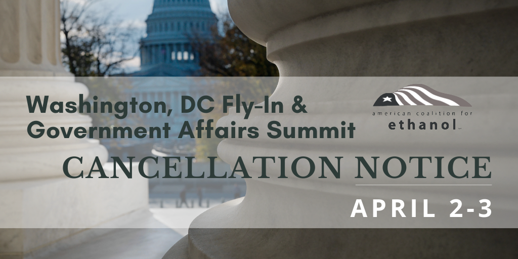 ACE cancels April DC fly-in due to COVID-19 precautions being taken on Capitol Hill, exploring options to reschedule in the fall